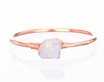 Mini Raw Opal Ring for Women, Rose Gold Ring, Dainty Ring, Gemstone Ring, Opal Engagement Ring, Raw Crystal Ring, October Birthstone Ring