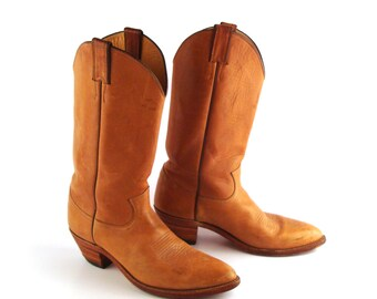 Men's Cowboy Boots Vintage 1980s Justin Tan Brown size 9 B