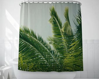 Palm Leaf Art, Shower Curtain Liner, Home Shower Curtains, Bath Accessories, Photo Shower Art, Bath Decoration
