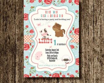 Barnyard invitation - farm invitation - barnyard invite - farm birthday - farm baby shower -farm animals - shabby barnyard printable