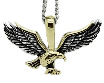 Mens Multi Color Stainless Flying Eagle Pendant Cuban Chain Bird Necklace Charm