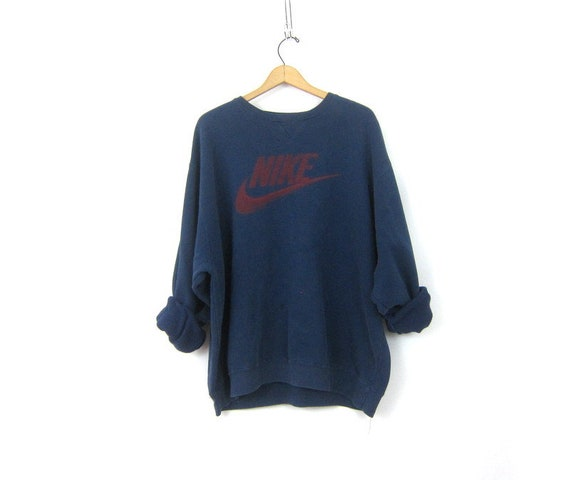 Distressed vintage NIKE sweatshirt Baggy Blue sweatshirt slouchy sweatshirt Athletics Sports Sporty Swoosh Logo Emblem workout Unisex XL XXL