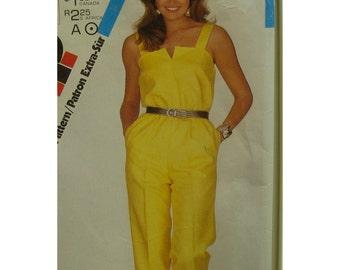 Open Top Jumpsuit Pattern, Straps, Blouson Bodice, Straight Legs, Side Pockets, Vintage 1980s, Simplicity No. 5825 Size 10 12