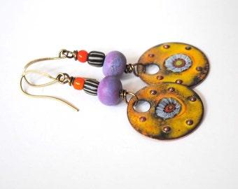 Bright Yellow Earrings, Enameled Copper Earrings, Lampwork Glass Bead Earrings, Colorful Artisan Earrings, Boho Chic Earrings,
