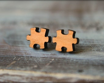 Puzzle Piece Earrings, Laser Cut Wood, Autism Awareness Jewelry, Autism Speaks Symbol, Sustainable Cherry Wood, Piece of Me, Romantic Gift