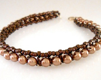 Light Coffee Colored Czech Glass Pearl and Japanese Seed Bead Tennis Bracelet