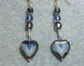 Montana blue Czech glass heart bead dangle earrings adorned with montana blue Czech glass beads.