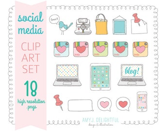 SOCIAL MEDIA Clip Art Set for personal and commercial use- camera, shopping, favorite heart, iPhone, iPad, laptop