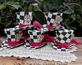 Checkered Alice in Wonderland Mad Hatter Top hats,Party favors,Tea Party decorations,photo props,party hats,ornaments,customize tags option