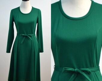 Fabulous 60s 70s Channel 1 by Bill Sims Green Ballerina Dress Long Sleeve Belt Tie Polyester Dress 1960s 1970s Medium M Flowy Flare Skirt