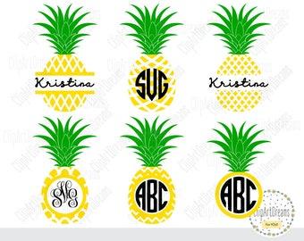 Pineapple Monogram SVG Frame Svg Cut Files, Svg files for Cricut For Silhouette Studio, DXF Cut File Split Frame Pineapple Circle Monogram