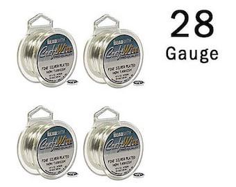 4 Spools 28 Gauge Craft Wire Mix Non-Tarnish Silver Wire Round