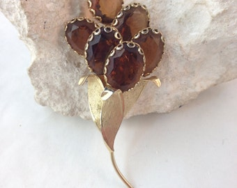 "Vintage Topaz and Gold Floral Bouquet Brooch with Decorative Prongs & Faceted Stones 3  3/8"" Long 1.5"" Wide Previously 18 Dollars ON SALE"
