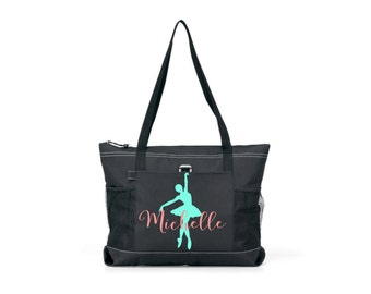 ballet tote, tote with zipper, personalized ballet bag, dance bag, personalized dance team tote, competition tote bag, large tote bag