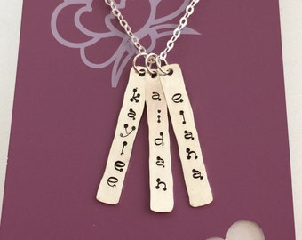 Stamped vertical bar necklace (1 bar only)