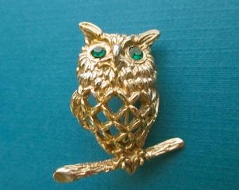 Owl Pin with Green Rhinestone Eyes