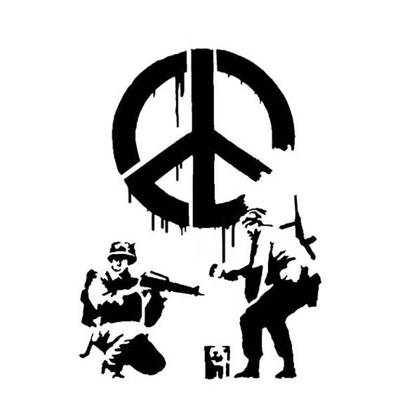 Banksy CND Soldaten Schablone Soldaten-Malerei-Peace-Zeichen
