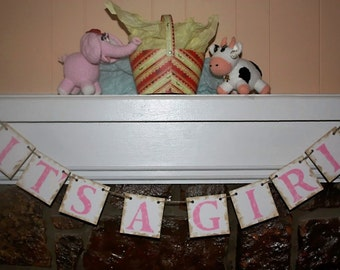 Baby Banner Baby Girl Shower Decoration,Rustic Baby Shower Banner, it's a Girl Banner Garland,