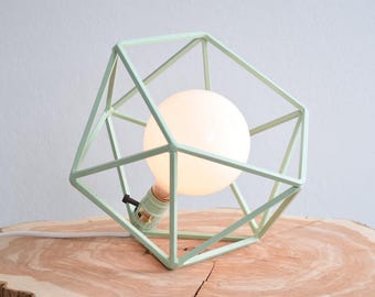 Table Lamp, Modern Geometric Edison Bulb Lamp, The Mercedes Geometric Table Lamp, UL Certified Residential Commericial, MINT GREEN