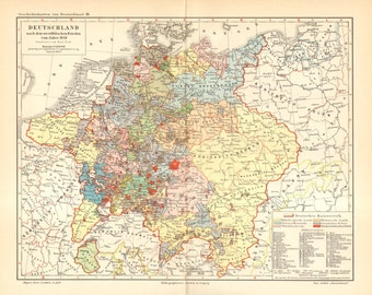 1903 Antique Map of Germany in the Year 1648 after the Peace of Westphalia