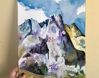 Mountain Watercolor Painting - Watercolor and Ink Painting of Cirque of the Towers in Wyoming - Original Landscape Art on Paper Mountain Art