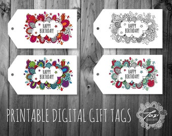 PRINTABLE Happy Birthday Gift Tags | Instant Digital Download to Print at Home | Full Colour Original Design