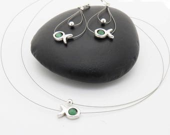Kit set earrings + emerald green fish necklace
