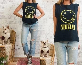 Vintage 1992 NIRVANA Nevermind Smiley Face Cut Off Tour T-Shirt Tank