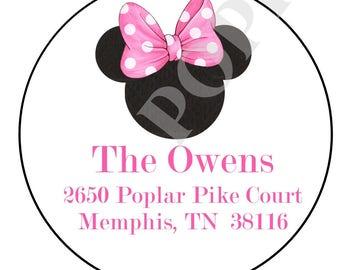 Minnie Mouse Address Sticker- Minnie Mouse address label- address label- Round Address Label