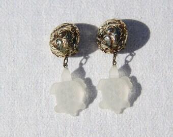 Vtg 80s Large Tortoise/Turtle Earrings