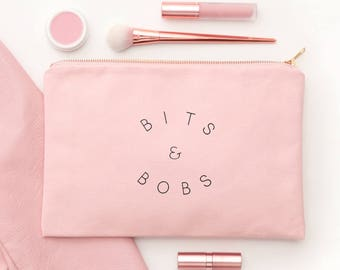 Bits & Bobs - Blush Pink Cosmetics Pouch - Blush Pink Canvas Pouch - Alphabet Bags