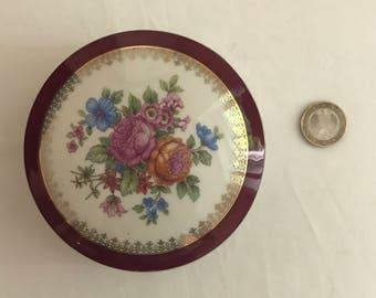 Floral decor Limoges porcelain jewelry box