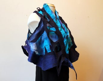 Painted silk and hand felted vest