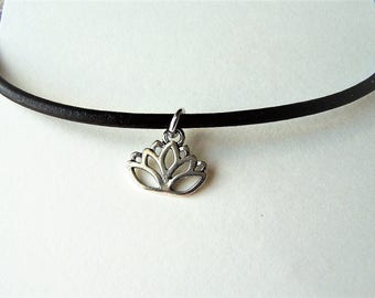 Lotus Charm Ankle Bracelet on a Leather Cord