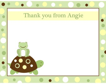 20 Personalized Thank You Cards -   Little Turtle and Frog  - Yellow and Green