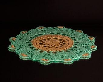 Colorful handmade crochet doily gift