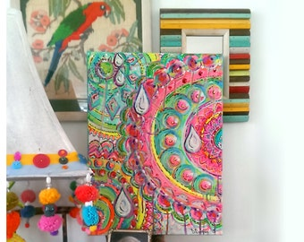 Hidden Tears, Original Painting, Joy, Tears, Emotions, Life, Bohemian, Art, Cheery, Teardrops, Wall Art, Home Decor, 12 x 16