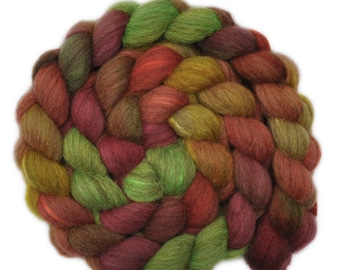 Hand painted combed top roving - Silk / Oatmeal BFL wool 30/70% spinning fiber - 4.0 ounces - Country Charm 2