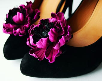 Magenta Leather Poppy Flower Shoe Clips