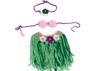 Crochet Aloha Baby Hula Costume, Green Grass Skirt, Floral Bra Top and Flower Headband, Summer Pictures