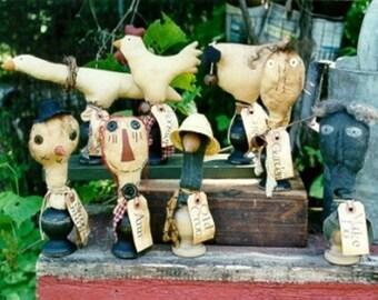 Primitive Pattern Make Do Folk Art Snowman Chicken Goose Crow Sheep Dolls Raggedy Ann