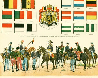 1897 Belgium Army Flags Uniforms Antique Print Larousse Large Size 115 Years Old Decor  Wall Art