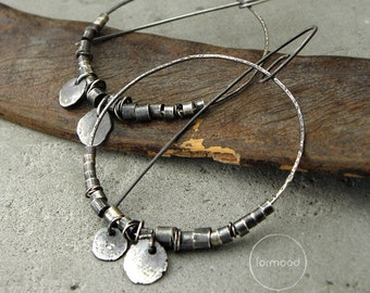 100% Ag - earrings, raw sterling silver, hoop earrings, oxidized raw earrings
