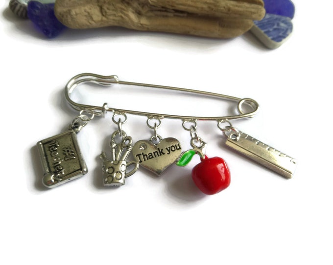 TEACHER Thank You GIFT inspired silver 5 charm 70mm kilt pin brooch charm shawl bag clip jewellery Uk