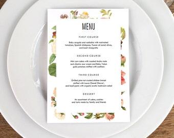 Vintage Floral Printable Menu Template - Wedding Menu - Lush Florals -  Printable Menu Template - Menu Template - Menu Cards - Menu Card PDF