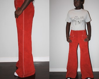 Genuine Authentic 1960s Rust Brick Red High Waist Suede Bell Bottom Pants - 60s Bellbottoms - Sixties Bell Bottom Pants - 101