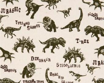 Dinosaurs Jurassic Dino Dinosaur Natural T-Rex Stegosaurus Cotton Fabric by Sevenberry for Robert Kaufman from Japan