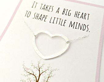 It Takes a Big Heart to Teach Little Minds - Teacher Necklace - Teacher Appreciation End of the Year Gift - Sterling Silver Heart Necklace