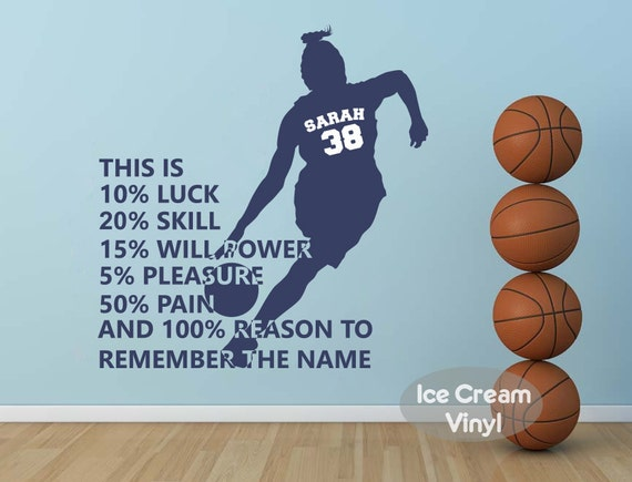 Basketball Wall Decal With Name For Grils Sports Vinyl Wall Decor Childrens  Decor Vinyl Lettering Girlu0027s Room