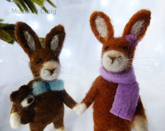 Needle Felted Animal , Wool Rabbits , Gift , Easter celebration, Gift , home decor , Brother and Sister , Decoration , Waldorf Art